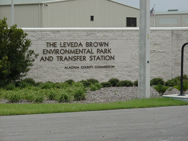 Image showing the Entrance sign to the Leveda Brown Environmental Park as well as some landscaping.
